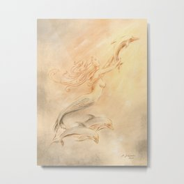 Dolphins Angel of the Seas Metal Print