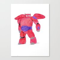 baymax Canvas Prints featuring baymax  by Art_By_Sarah