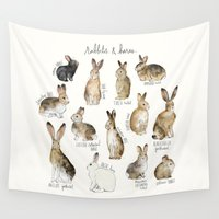 arctic monkeys Wall Tapestries featuring Rabbits & Hares by Amy Hamilton