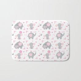 Pink Elephant Baby Girl Nursery Bath Mat