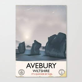 Avebury, Wiltshire Stone circle Train travel poster Canvas Print