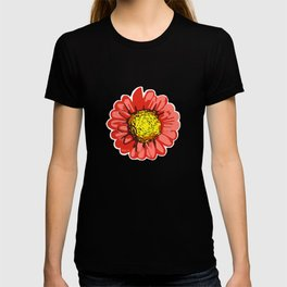Red Chrysanthemum Flower Illustration T-shirt