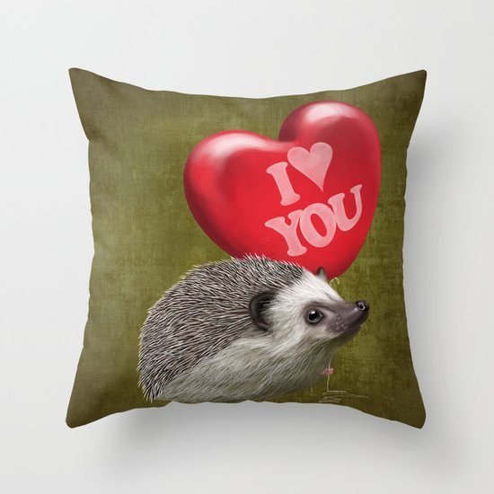 Hedgehog in love with a red balloon Throw Pillow