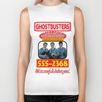 ghostbusters Biker Tanks featuring Ghostbusters Advertisement by Silvio Ledbetter