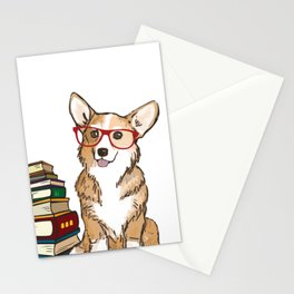 Corgi for book lovers, book nerds, readers, or english teachers Stationery Cards