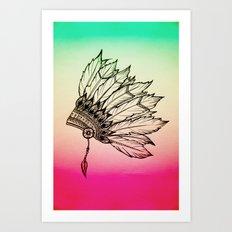 Native American Spiritual Feather Headdress Art Print
