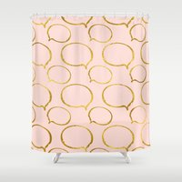 gold foil Shower Curtains featuring Pink Gold Foil 01 by Aloke Design