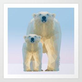 Cute Low poly polar bear with cub Art Print
