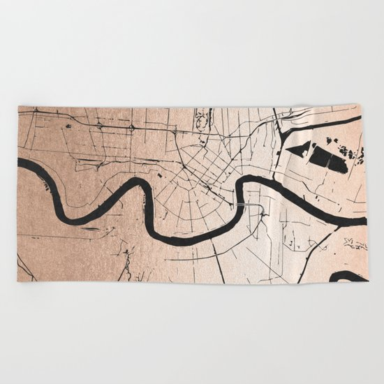 New Orleans Rose Gold and Black Map Beach Towel