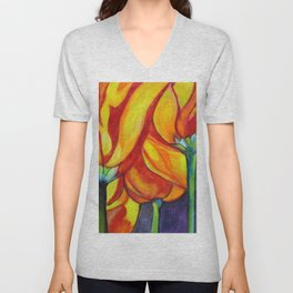 Happy Tulips Unisex V-Neck