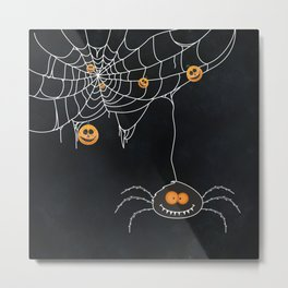 Halloween Spider on Web Metal Print