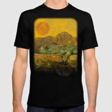 Just Chilling and Dreaming...(Lizard) MEDIUM Black Mens Fitted Tee