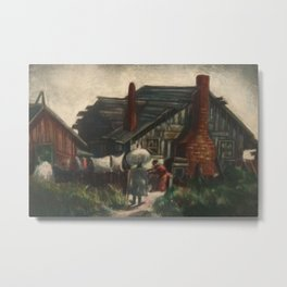 African American Masterpiece 'Monday Morning Wash' by Dox Thrash Metal Print