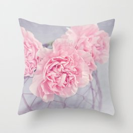 Pale Pink Carnations Throw Pillow