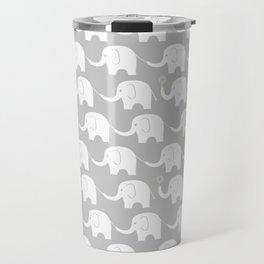 Elephant Parade on Grey Travel Mug