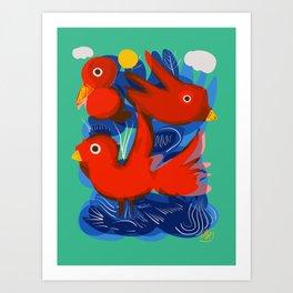 Red Birds Of Love in the Emerald Sky Art Print