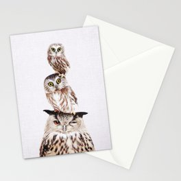 Stacked Owls on Lilac Stationery Cards