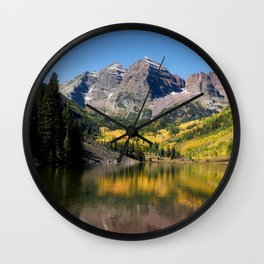 Images USA Maroon lake, Rocky Mountains, Colorado Rock Nature Autumn Mountains Lake landscape photography Crag Cliff mountain Scenery Wall Clock