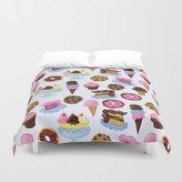 dessert Duvet Covers featuring Dessert Pattern by Julia Emiliani