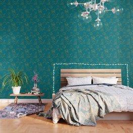 Golden Retriever Pattern (Teal Background) Wallpaper