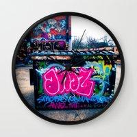 grafitti Wall Clocks featuring Amazed Grafitti by Squint Photography