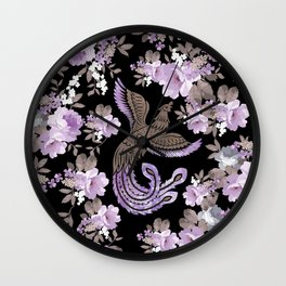 Phoenix Bird with watercolor flowers Wall Clock