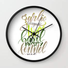 Hand Lettered Italian Spices Wall Clock