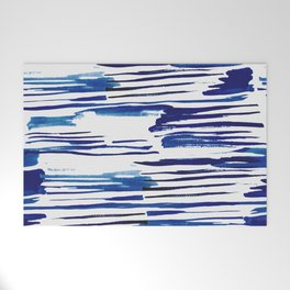 Shibori Paint Vivid Indigo Blue and White Welcome Mat