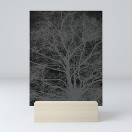 Black and white tree silhouette Mini Art Print
