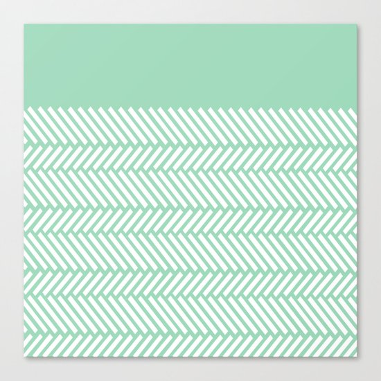 Herringbone Mint Boarder Canvas Print