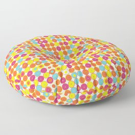 Funny Polkas-Yellow and orange Floor Pillow