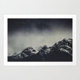 Misty Dark Mountain Peaks in the Italian Alps Art Print