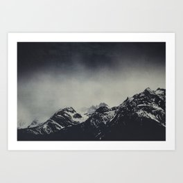 Misty Dark Mountain Peaks in the Italian Alps Art Print