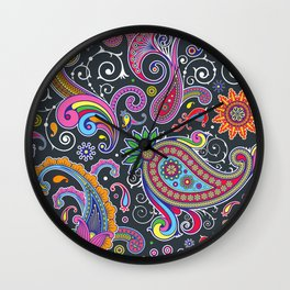 Oriental Persian Paisley - Green Pink Blue Yellow Wall Clock