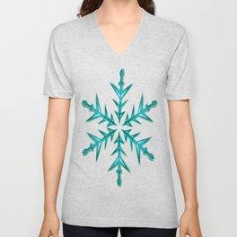 Minimalistic Aquamarine Snowflake Unisex V-Neck