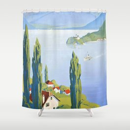 French vintage travel poster Annecy France Shower Curtain