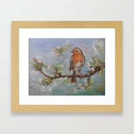Red Robin Small bird on a blooming twig Wildlife spring scene Pastel drawing Framed Art Print