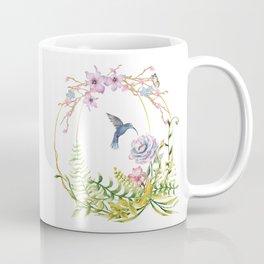 Glittering Golden Floral Hummingbird Terrarium Coffee Mug