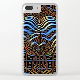 7852s-KMA_4972 Abstract Feminine Booty in Blue Stripes Clear iPhone Case