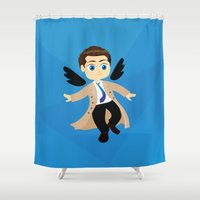 castiel Shower Curtains featuring Angel Castiel Supernatural by Alice Wieckowska