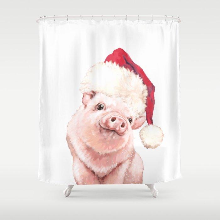 Christmas Pig.Christmas Pink Pig Shower Curtain
