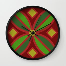 Red Pattern  Wall Clock