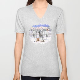 Beautiful White Gray Quarter Horses in Snow Unisex V-Neck
