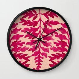 Pink Fern Wall Clock