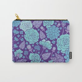 Bright Blue & Purple Floral Print Carry-All Pouch