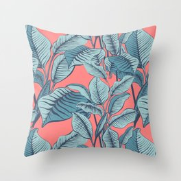 Pink Exotic Tropical Banana Palm Leaf Print Throw Pillow