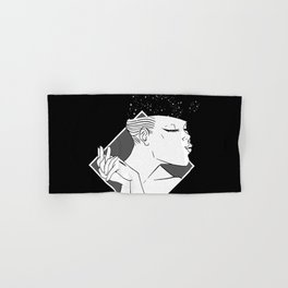 Losing Her Mind Simple Woman Smiling In Monochrome With Clasped Hands Cartoon Style Hand & Bath Towel