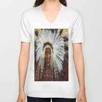 native american V-neck T-shirts featuring Native American by Mary J. Welty