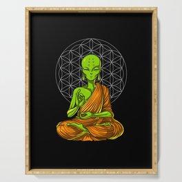 Space Alien Buddha Zen Yoga Meditation Serving Tray