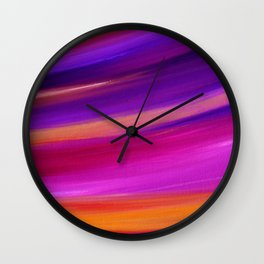 PINK AURORA - Abstract Sky Oil Painting Wall Clock